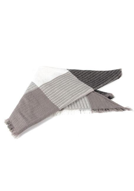 Women's Plaid Blanket Scarf, BLACK, hi-res