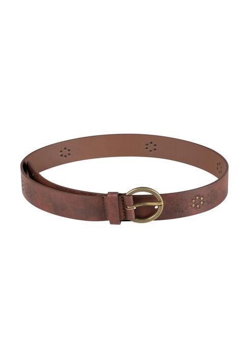 Women's Embossed & Studded Belt, MEDIUM BROWN, hi-res