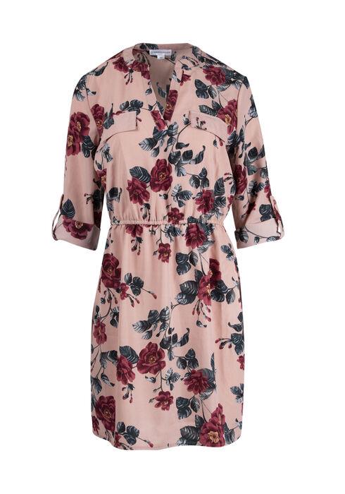 Women's  Roll Sleeve Shirt Dress, PINK PRINT, hi-res