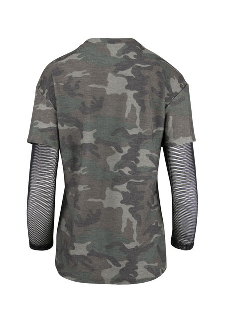 Ladies' Camo Mesh Sleeve Tee, OLIVE, hi-res