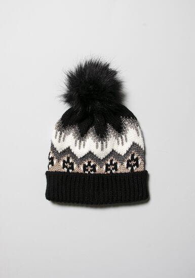 Women's Fairisle Hat, BLACK, hi-res