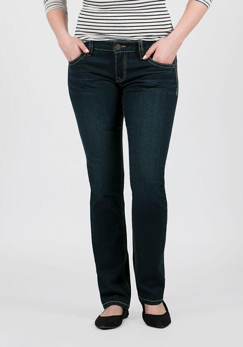 Ladies' Straight Leg Jeans, DARK WASH, hi-res