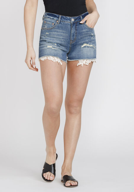 Women's High Rise Crochet Hem Short