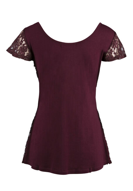 Ladies' Sequin Flutter Sleeve Top, WINE, hi-res