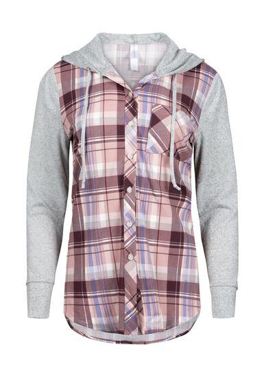 Women's Hooded Plaid Shirt, PINK, hi-res