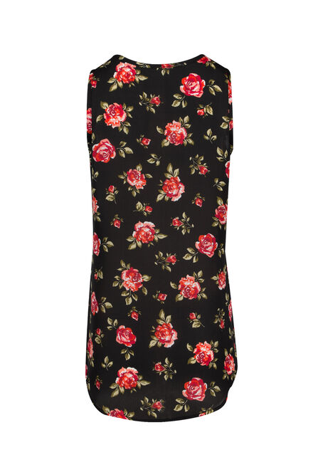 Ladies' Cage Neck Floral Tank, BLACK, hi-res