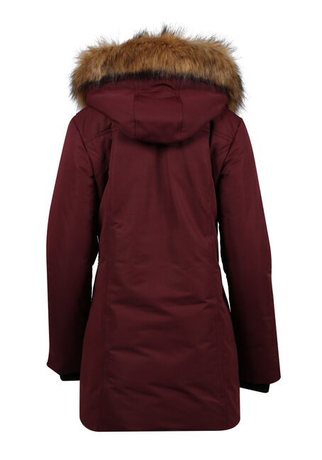 Ladies' Plus Size Quilted Parka, WINE, hi-res