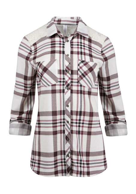 Ladies' Lace Trim Plaid Shirt