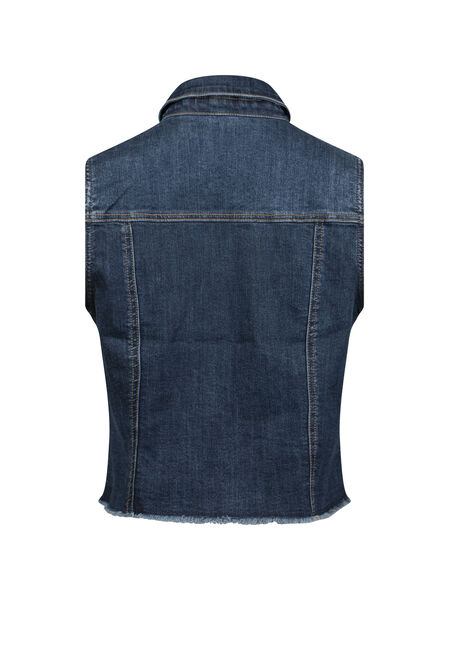 Women's Frayed Hem Denim Vest, DENIM, hi-res