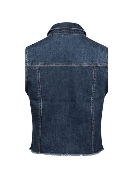Women's Frayed Hem Denim Vest, DENIM, hi-res