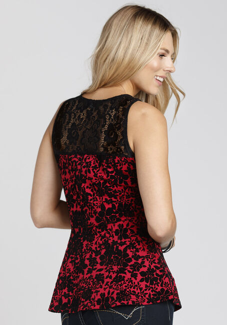 Ladies' Floral Flocked Peplum Tank, BRIGHT RED, hi-res