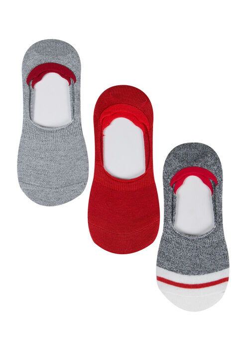 Ladies' 3 Pair Shoe Liners, RED, hi-res