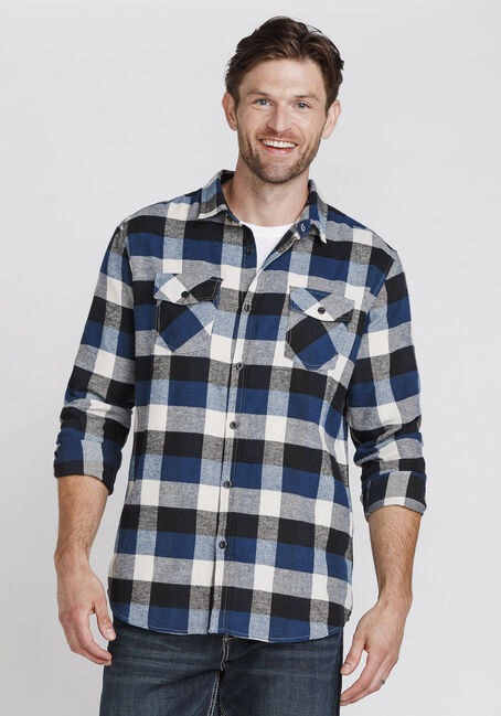 Men's Plaid Flannel Shirt, MIDNIGHT NAVY, hi-res