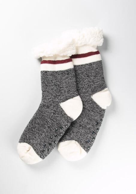 Women's Cottage Slipper Socks, GREY, hi-res