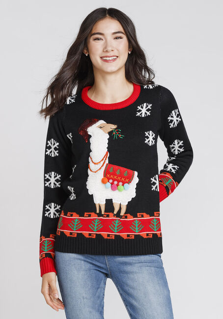 Women's Llama Holiday Sweater, BLACK, hi-res