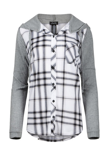 Women's Waffle Sleeve Hooded Plaid Shirt