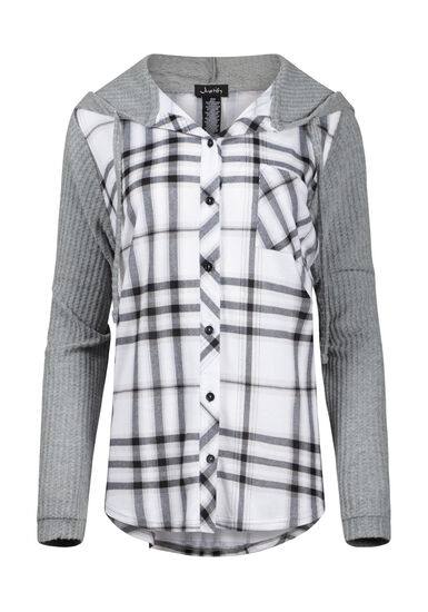 Women's Waffle Sleeve Hooded Plaid Shirt, BLK/WHT, hi-res