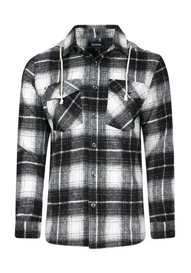 Men's Flannel Work Shirt, BLK/WHT, hi-res