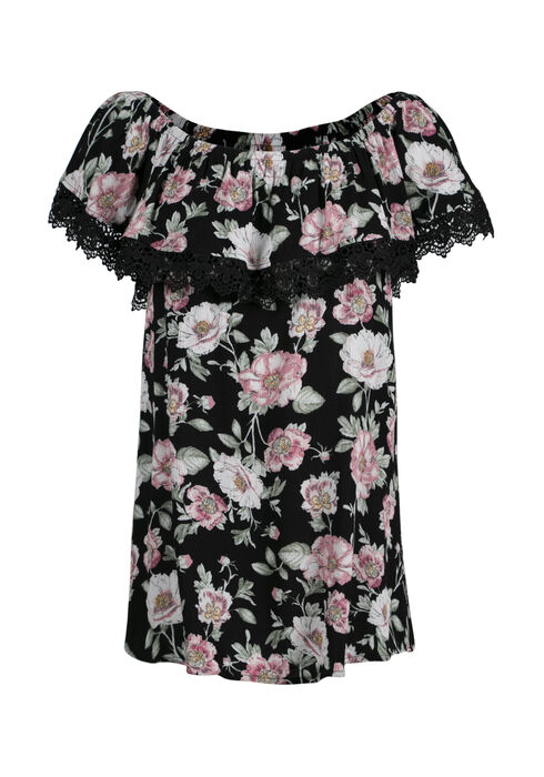 Women's Floral Bardot Top, BLACK, hi-res