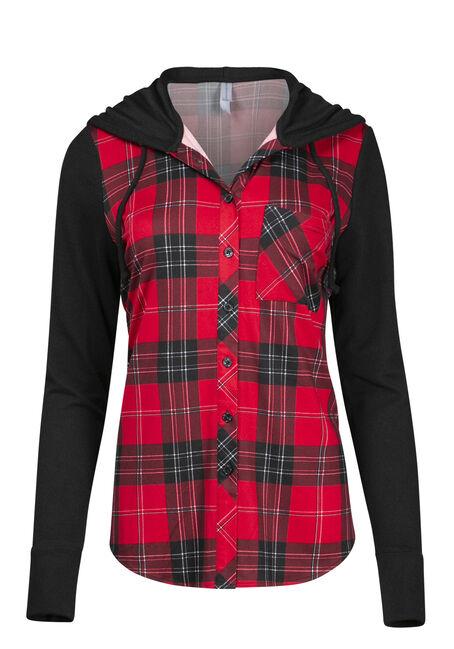 Women's Red Black Plaid Hoodie