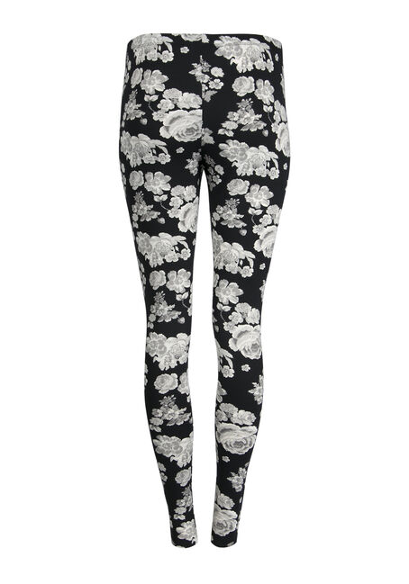 Ladies' Floral Legging, BLK/WHT, hi-res
