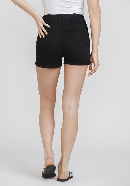 Women's Exposed Button High Rise Cuffed Short, BLACK, hi-res