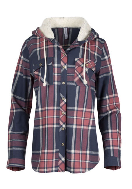 Ladies' Hooded Flannel Boyfriend Shirt