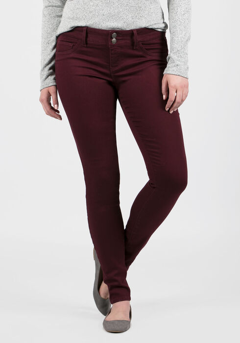 Ladies' Skinny Pants, BURGUNDY, hi-res