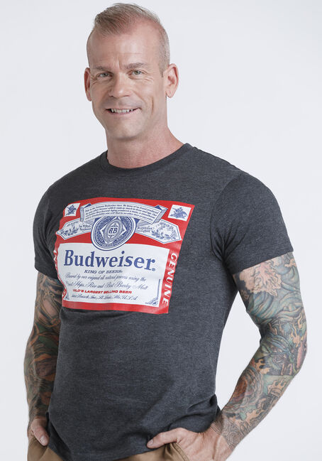 Men's Budweiser Tee, DARK HEATHER, hi-res