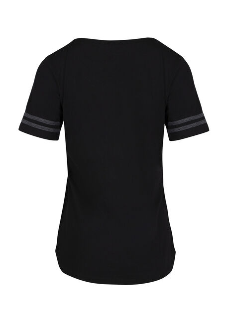 Women's Cage Neck Football Tee, BLACK, hi-res