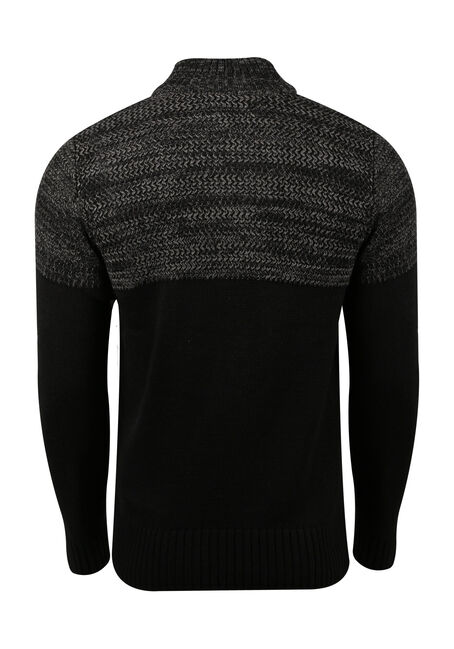 Men's Mock Neck Sweater, BLACK, hi-res