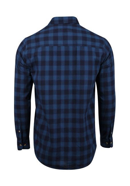 Men's Printed Dot Plaid Shirt, NAVY, hi-res