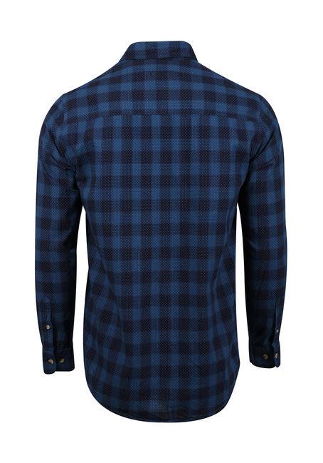 Men's Printed Dot Plaid Shirt, NAVY, hi-res