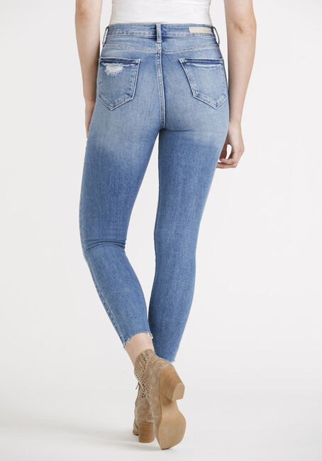 Women's High Rise Destroyed Raw Hem Skinny, MEDIUM WASH, hi-res