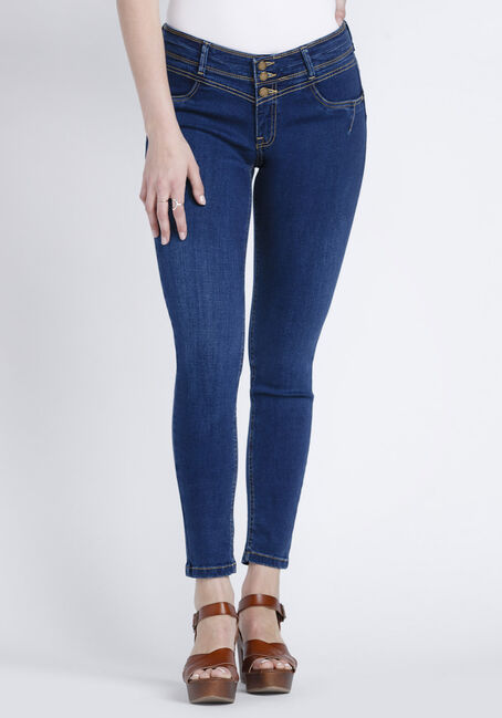 Women's Indigo Stacked Button Skinny Jeans