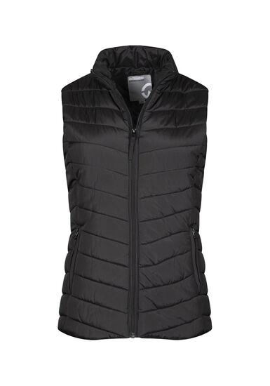 Women's Quilted Vest, BLACK, hi-res