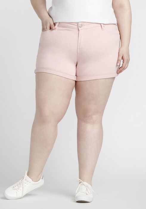 Women's Plus Size Coloured Not-So-Short Short, PINK, hi-res