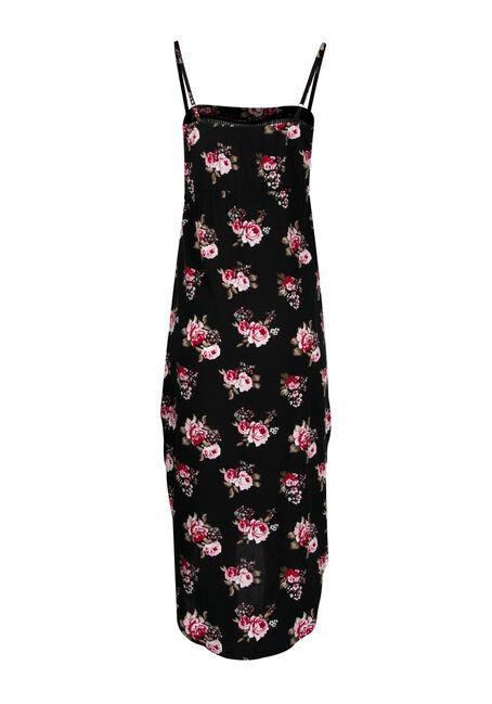 Women's High-Low Midi Dress, BLACK FLORAL, hi-res