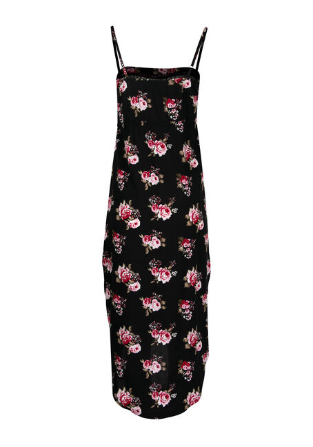Women's High-Low Midi Dress, BLACK FLORAL, hi-res