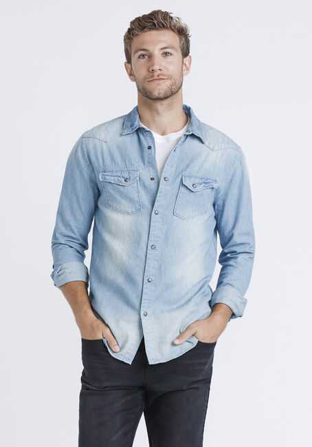 Men's Denim Shirt, LIGHT WASH, hi-res