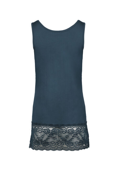 Ladies' Lace Trim Tunic Tank, TEAL, hi-res