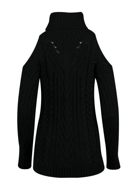 Ladies' Cold Shoulder Sweater, BLACK, hi-res