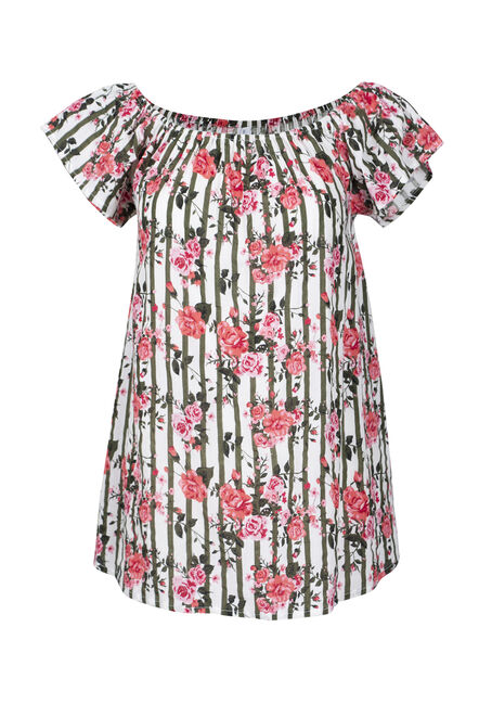 Women's Floral & Stripe Bardot Top