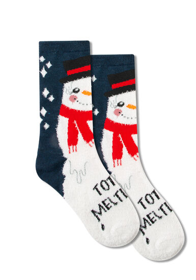 Women's Holiday Crew Socks, NAVY, hi-res