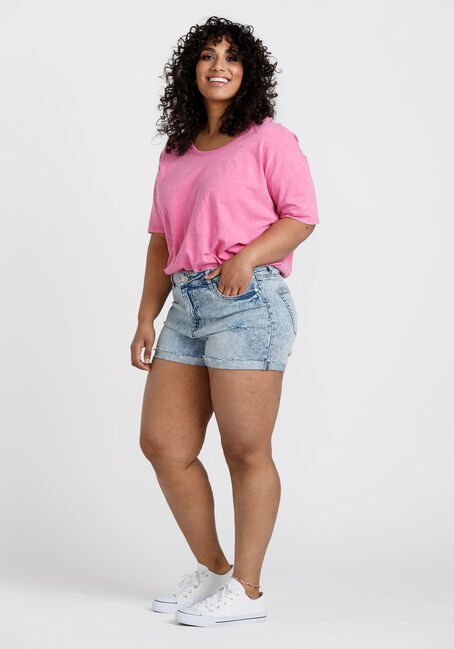 Women's Washed Oversized Tee, BRIGHT PINK, hi-res