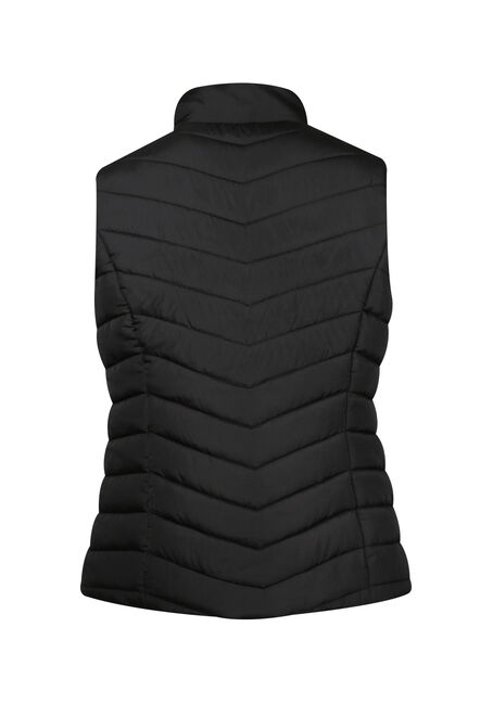 Ladies' Quilted Vest, BLACK, hi-res