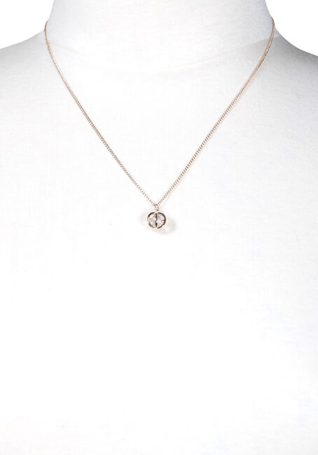 Women's Rhinestone Necklace, ROSE GOLD, hi-res