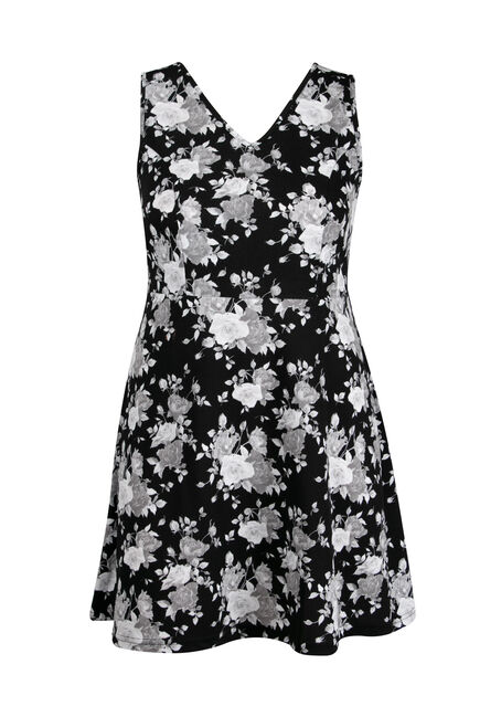 Women's Plus Size Floral Fit & Flare Dress