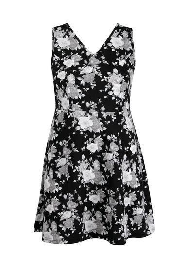 Women's Plus Size Floral Fit & Flare Dress, BLK/WHT, hi-res