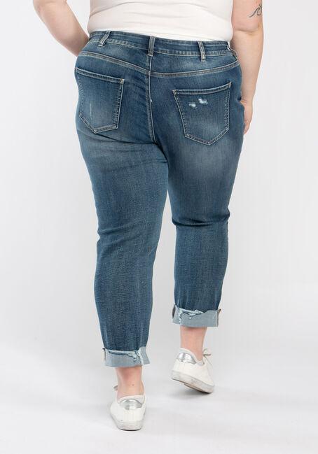 Women's Plus Destroyed Cuffed Girlfriend Jeans, DARK WASH, hi-res